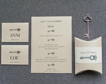 Vintage  Key Wedding Menu, Reception Menu, Event Menu, Dinner Menu, Champagne Menu, Gold Menu - Caprice and Marvin
