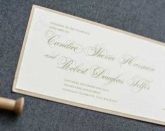 Vintage Blush Pink and Gold Skinny Wedding Program - Mackenzie and Greg