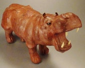 HIPPOPOTAMUS  LEATHER   handcrafted 1950s  Sculpture 14 LX 4W X 78T Textured