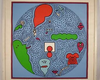 Op Art LISTED ARTIST  SILKSCREEN Ros Barron numbered framed No Glass Great condition 27 x 27