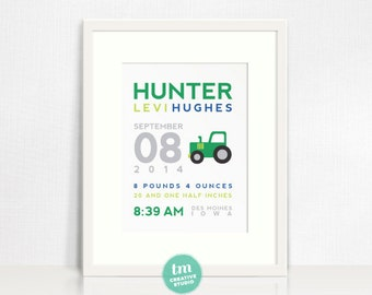 Custom Birth Announcement Print - TRACTOR Wall Art