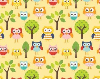 Clearance FABRIC LAZY DAY Owls in Yellow by Riley Blake 1/2 Yard