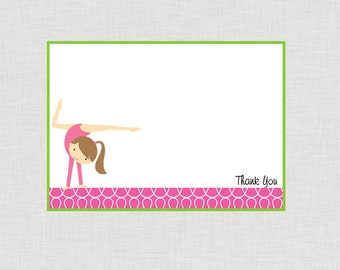 INSTANT DOWNLOAD Flip On Over Gymnastics Flat Thank You Brunette Hair PDF