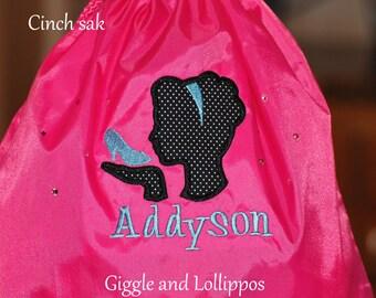 Girls personalized disney princess backpack pink purple cinch sak