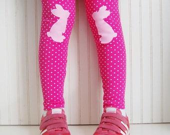 Pink Bunny Leggings. Polka Dot Bunny Tights. Cute Rabbit Leggings.  Easter Leggings. Toddler Leggings. Kneepatch Bunny Leggings.