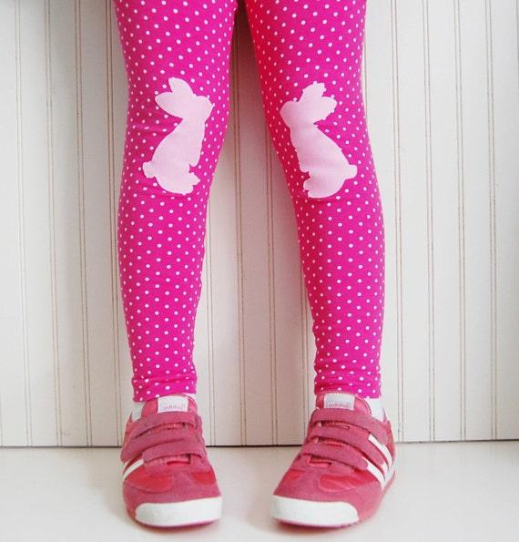 Girls Leggings Bunny Leggings Bunny Tights Rabbit Leggings Pink Leggings Easter Leggings Toddler Leggings