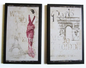 Paris wall decor plaque 2 pc. set Eiffel Tower and Arc de Triomph elegant pink model lady pictures signs plaques french travel vacation
