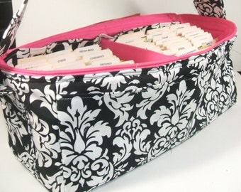 """Coupon Organizer, Coupon Pocketbook,  Mega Deluxe 6"""" Double Wide Damask"""