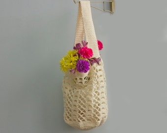 Cotton Tote Bag, Custom - Chose Color,  Market Bag,  Crocheted Net Bag,  Book Bag,  Beach Bag