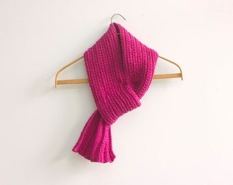 Chunky Scarf, Raspberry Knit Scarf, Wool Keyhole Scarf, Self Tying Scarf, Stay in Place Scarf, Neck Warmer Cowl, Ready to Ship