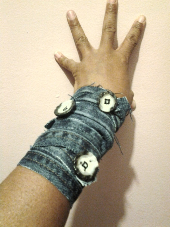 A Set of 3 Unique Ruff Edged Denim Arm Cuff Wraps with Buttons, Arm Wrap Cuff, Cuff, Arm Bands