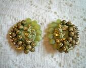 Vintage 1960s Floral Petals Lucite Rhinestone Earrings
