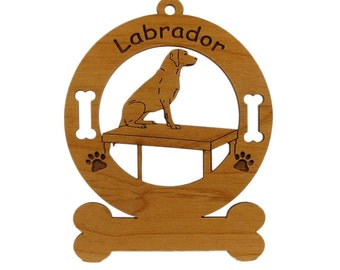 3487 Labrador and Table Personalized Wood Ornament