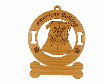 1185 American Bulldog Head Personalized Wood Ornament