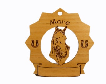 8184 Mare Head Horse Personalized Wood Ornament - Free Shipping