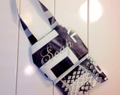 Travel soap caddy bag black white and silver