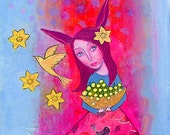 Golden Magic, 7 x 10, original mixed media painting on canvas board, floral, rabbit, spring