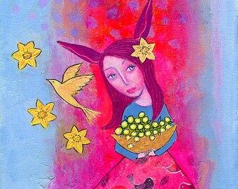 Golden Magic, original mixed media painting on canvas board, 7 x 10ins. floral, rabbit, spring