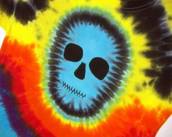 Rainbow Tie Dye Shirt, Zombie Skull Tie Dye T Shirt - Youth Large