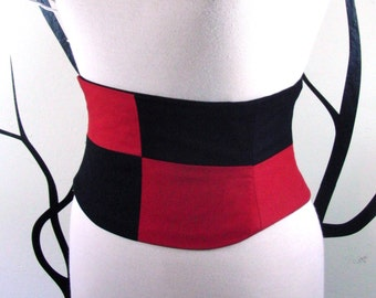 Corset Belt: Harlequin Waist Cincher Black and Red Any Size B Queen of Hearts