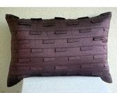 Decorative Oblong / Lumbar Rectangle Throw Pillow Covers Accent Pillow Couch Bed Toss12x18 Plum Silk Pillow Case with Pintuck Plum Stripe