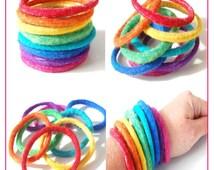 Rainbow Cuff Set - Mix and Match Felted Bracelets, Felt Bangles