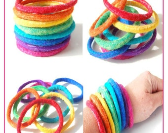 Rainbow Cuff Set - Mix and Match Felted Bracelets, Felt Bangles
