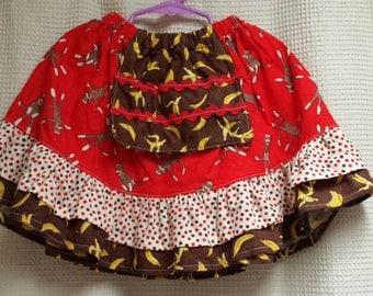 Sock monkey apron twirl skirt