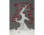 Bonsai of My Heart - postcard art print of an original paper sculpture by Tiffany Budzisz