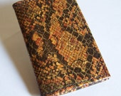 Leather Card Case - Faux Python Snakeskin Leather - Use for Business Cards, Credit Cards, Thin Wallet