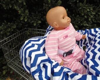 Chevron (royal blue/white) baby shopping cart cover/ high chair cover