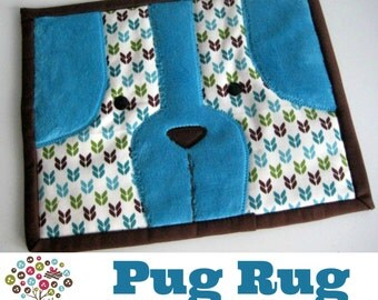 Pug Rug Mini Quilt Mug Rug Pattern- Instant Download
