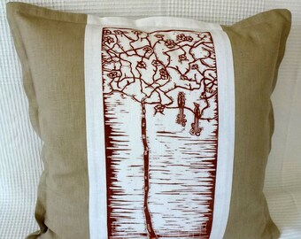 decorative pillow/cushion cover/pillow cover/throw pillow/scatter cushion/pillow case/sofa cushion/burnt orange/white/beige/linocut/