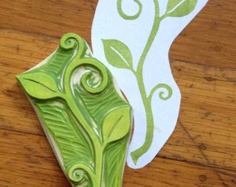 Hand Carved Swirly Sprout Stamp