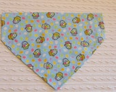 Dog Bandana in Blue with Bskets and Eggs Sizes XS to XL in Dog Collar Style Dog Bandanna