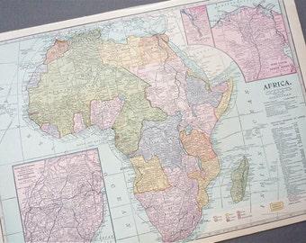 AFRICA 1930s retro map paper ephemera . wall decor . vintage book page