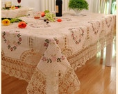 Ribbon embroidered crochet lace spring wreath tablecloth multiple sizes 2 colors