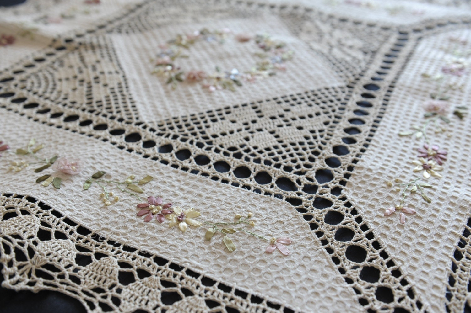 Ribbon embroidery with crochet lace tablecloth tea cloth table