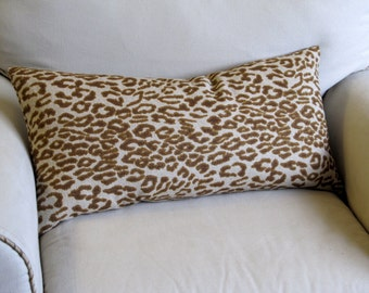 CHEETAH in brown bolster pillow 13x26 same fabric front and back