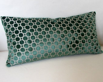 EMERALD  Raised Velvet decorative designer pillow 13x26