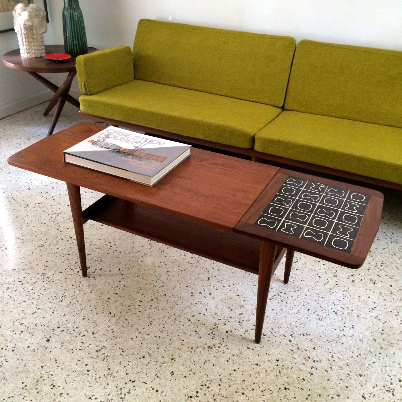 Free Shipping Danish Mid Century Modern Atomic Tile Top Coffee Table Haute Juice