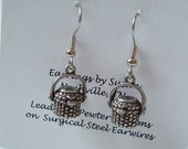 Nantucket Lightship Purse Basket Charm Earrings silver pewter USA-made lead-free