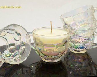 Cup Candle Glass Punch Cup Soy Container Candle Vintage Upcycled Soy Candle Retro Eco Friendly Gift