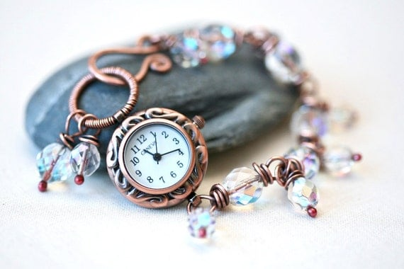 Copper and AB Czech Glass Beads Wire Wrapped Bracelet Watch