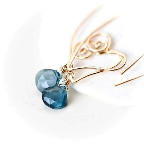 Heart Within - 14k Gold Filled Wire Sculpted Hoops with London BlueTopaz Briolettes