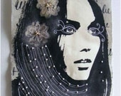 Textile art, stitched and beaded - Calico Girl - Urban art