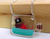 Kracken Attack! Ship in a Bottle clear acrylic charm necklace