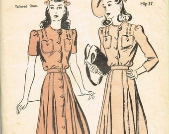 VINTAGE 1940s ADVANCE Pattern Tailored Ladies Misses Dress Size 16 Sleeve Options 2797 FACTORY Folded