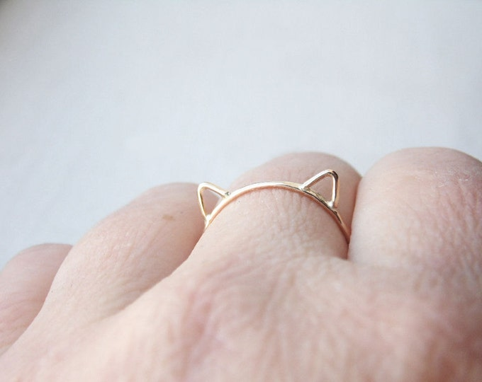 Gold Cat Ring - Cat Ears Ring