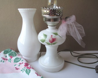 Vintage Milk Glass Pink Green Floral Lamp - Shabby Cute
